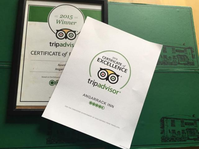 Delighted to have been awarded a Certificate of Excellence for the second year running | Angarrack Inn